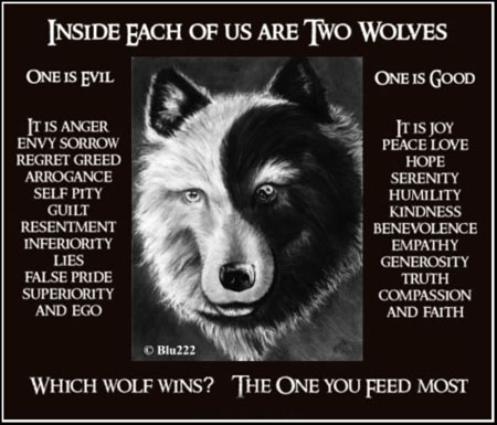 There is a battle between two wolves